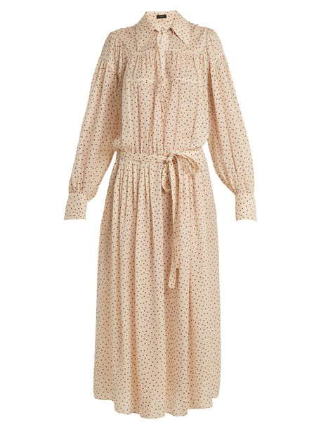 shirtdress heart print cream dress