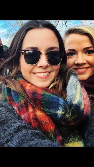 scarf wool plaid cozy wool-blend sunglasses