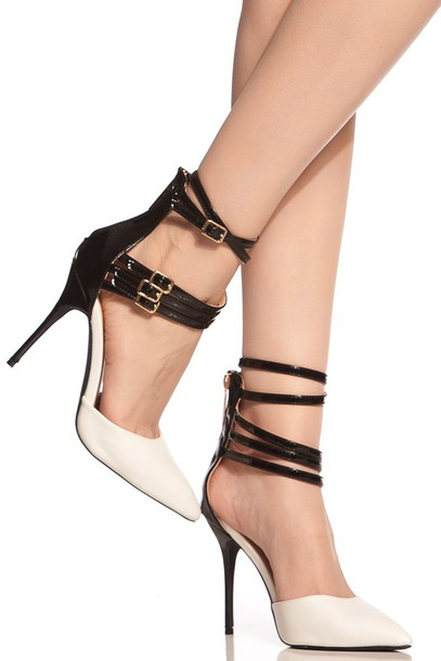 21643615b96 shoes white black multi strap high heels ankle strap pointed toe pointed  toe pumps