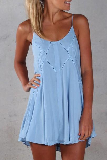 Dress Light Blue Flowy Spagetti Straps Blue Boho