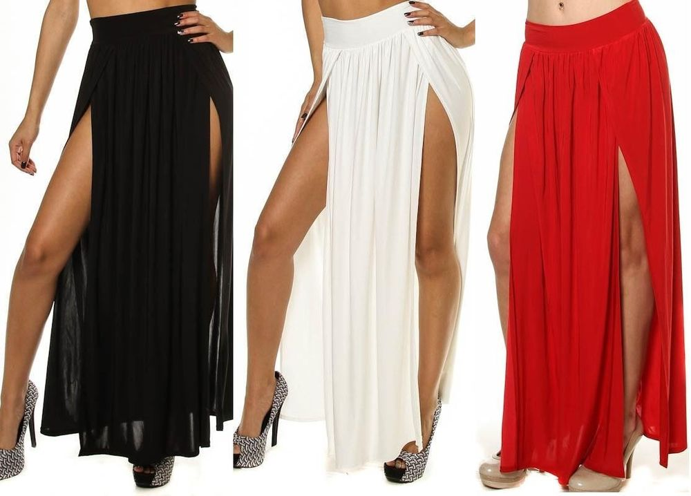 Women High Waist Double Thigh High Slit Maxi Skirt Long Full Length Sexy s M L | eBay