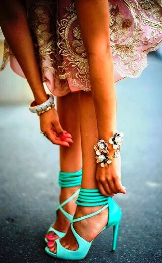 shoes heels mint mintgreen strappy high heels ankle strap heels turquoise