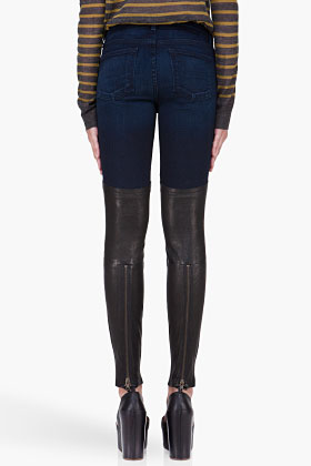 J Brand Dark Wash Leather-accented Minx Jeans for women | SSENSE