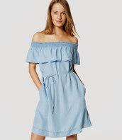 dress,off the shoulder,off the shoulder dress,ruffle,ruffled top,ruffle dress,chambray,chambray dress,summer,summer outfits,summer dress