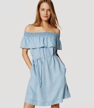 dress off the shoulder off the shoulder dress ruffle ruffled top ruffle dress chambray chambray dress summer summer outfits summer dress