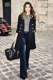 pants,military coat,work outfits,office outfits,flare pants,velvet pants,velvet,blue pants,top,striped top,coat,blue coat,trench coat,bag,tote bag,black bag,fall outfits,streetstyle,winter work outfit,flare velvet pants