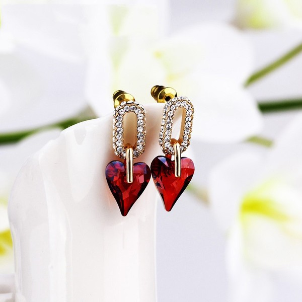 jewels earrings red rhinestone