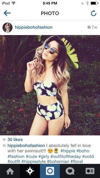 swimwear sunflower bikini high waisted bikini cute hipster bikini tumblr bikini where did u get that black yellow flower print