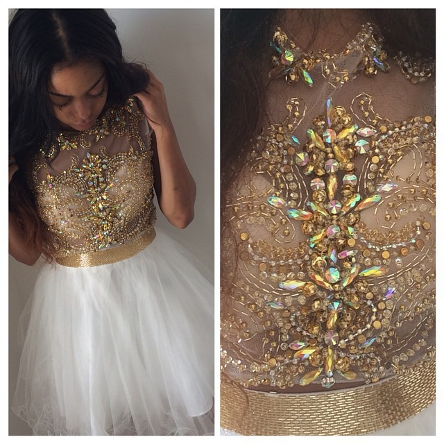 Aliexpress.com : Buy 2014 New Fashion Cap Sleeves Scoop Gold Crystal Beaded White Organza Short Homecoming Dresses from Reliable dress shirt sleeve size suppliers on 27 Dress