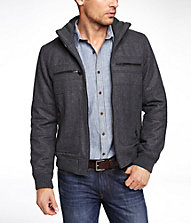WOOL BLEND BOMBER JACKET | Express