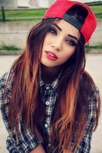 shirt cap red clothes accessory hat hair/makeup inspo blouse blue checkered shirt blue and white top