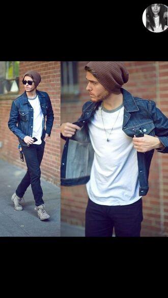 shoes jacket jeans boots sunglasses denim jacket white t-shirt menswear mens jacket