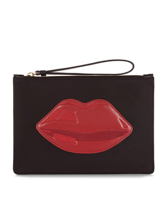 zip lips pouch black bag