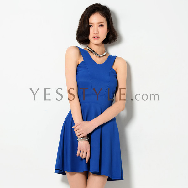 V-Neck Skater Dress, Blue , One Size - YesStyle Z | YESSTYLE