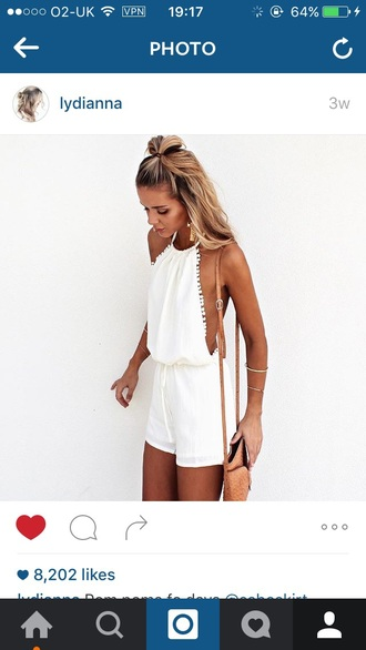 romper lydianna white dress white shirt jumpsuit white pom poms cut-out dress white ripped jeans girl girly girly wishlist white romper backless pom pom cute style halter neck tan blonde hair summer basic waist belt short drop back