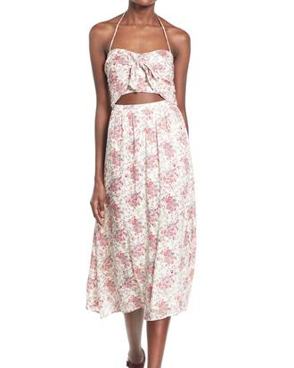 dress floral dress midi dress cut-out dress keyhole dress