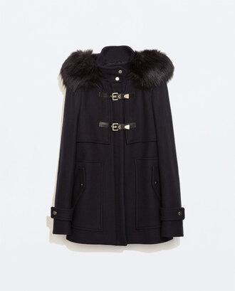coat zara trench coat fourrure zara women black coat