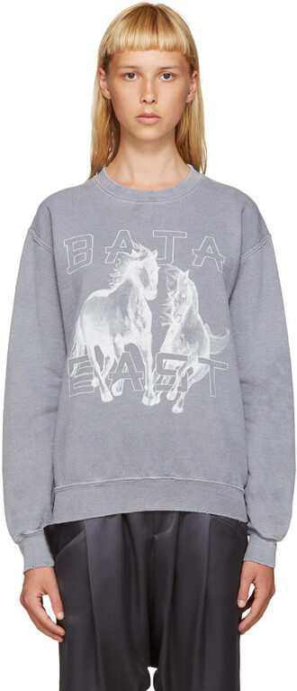 sweatshirt horse grey sweater
