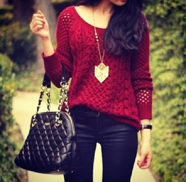 sweater jewels bag pants jeans red knit chunky sweater