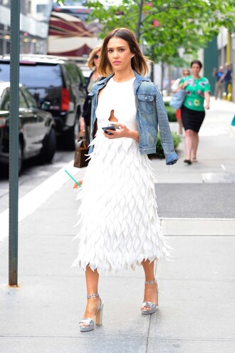 dress midi dress white jessica alba sandals white dress jacket summer dress summer outfits shoes