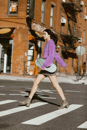 sweater,tumblr,cozy sweater,purple,purple sweater,lilac,skirt,mini skirt,boots,ankle boots,bag