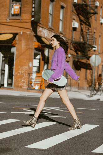 sweater tumblr cozy sweater purple purple sweater lilac skirt mini skirt boots ankle boots bag