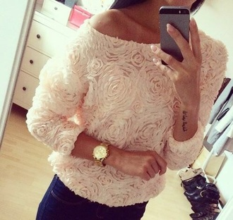 sweater roses cute white girl girly