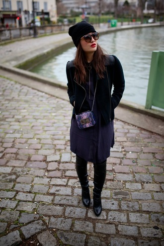 meet me in paree blogger sunglasses navy blue dress perfecto