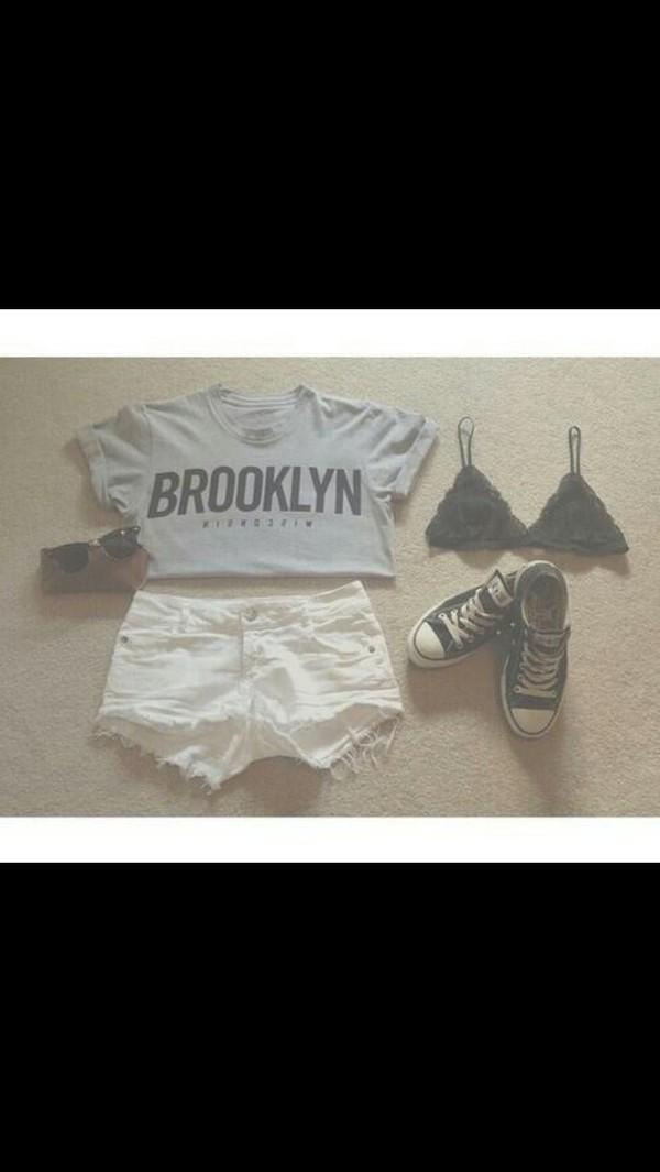t-shirt grey brooklyn crop underwear shorts