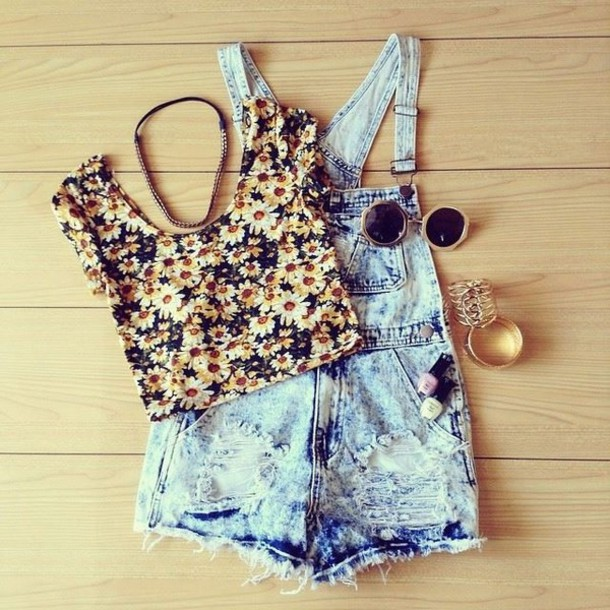 sunflower summer spring sunglasses round sunglasses jewels tank top blouse floral tank top hair accessory pink yellow overalls indie flowers t-shirt floral crop tops denim overalls denim shorts underwear pants shirt top short