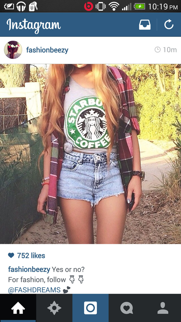 t-shirt starbucks coffee flannel shirt shorts jacket shirt