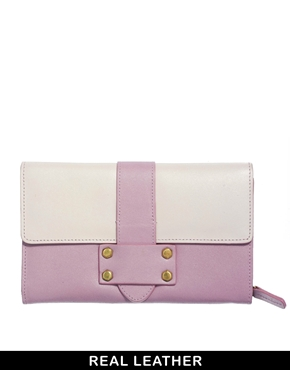 ASOS | ASOS Leather Purse In Colourblock at ASOS