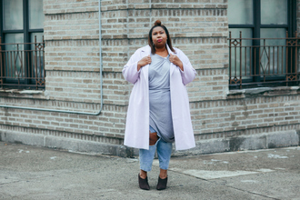 andigetdressed blogger t-shirt sweater dress jeans coat shoes jewels plus size plus size dress