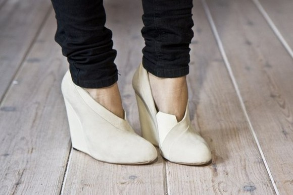 shoes wedge white wedges cream high heels black pants pumps