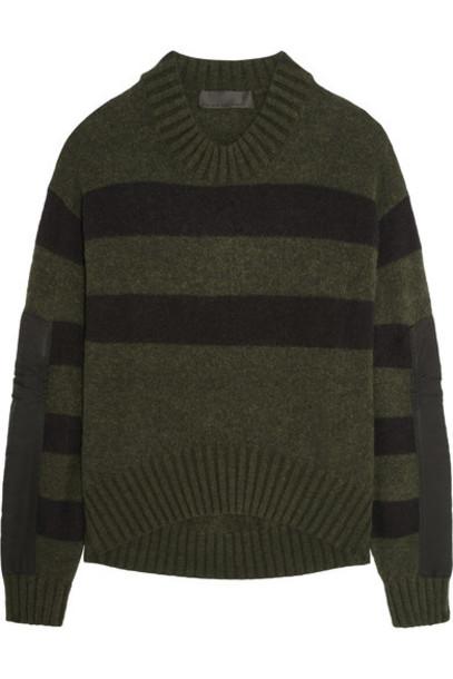 Haider Ackermann - Oversized Striped Knitted Sweater - Dark green