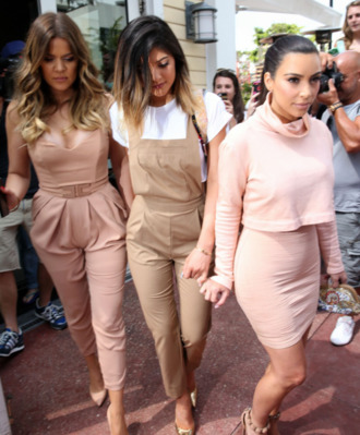 pants dungarees khloe kardashian kardashians keeping up with the kardashians beige neon baby pink nude skirt