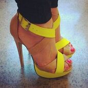 shoes,nude pumps,neon yellow heels,strappy heels,neon,yellow high heels,brown high heels,high heels,heels,yellow