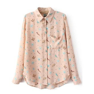 blouse floral blouse apricot blouse chiffon blouse birds shirt birds top lapel shirt long sleeve blouse sweet top
