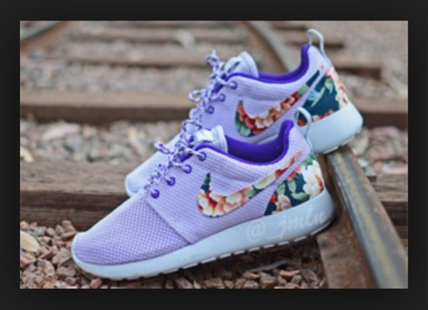 shoes valentine's edition violet purple shoes purple lavender nike nike roshes floral flowers nike running shoes floral shoes floral nike shoes