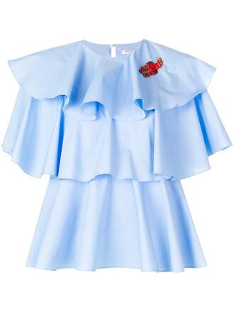 top ruffle women spandex cotton blue