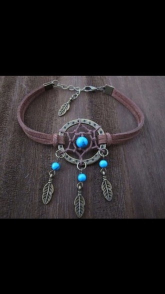 jewels necklass choker necklace accessories dreamcatcher blue