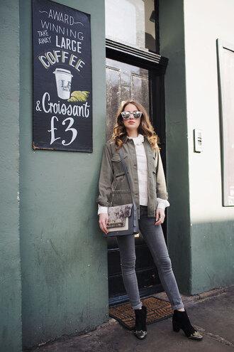 at fashion forte blogger jacket shirt jeans sunglasses bag jewels shoes