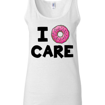 Workout Shirt - I Donut Care - Funny Fitness Tank Top for Women on Wanelo