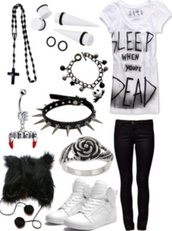 shirt,sleep,dead,emo,grunge,scene,ear plug,hat,bracelets,shoes,ring,jeans,jewels,shorts,death,cross,asos,claires