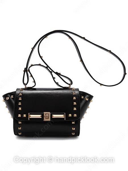 Black Rivet Embellished Twist Lock PU Cross Body Bag - HandpickLook.com