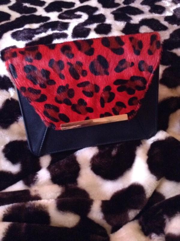 bag red leopard clutch