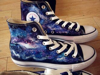 shoes galaxy print girl boy purple pink blue black desperate converse really want them