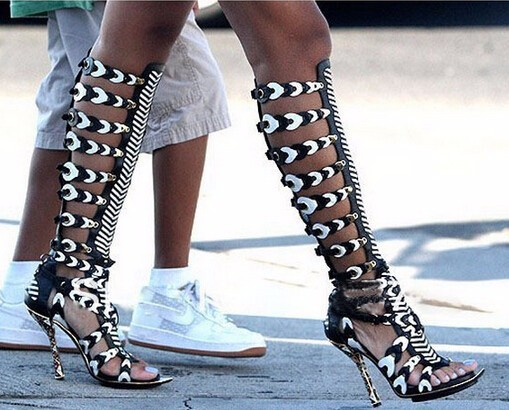Aliexpress.com   Buy Fast Shipping Ladies Long Sandal Boots Cut Outs  Metallic Knee High Gladiator Sandals ... f7365d8d23