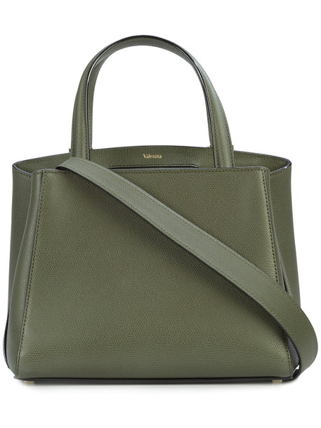 Valextra women classic leather green bag