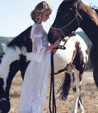 dress boho dress rosie huntington-whiteley white white dress maxi dress